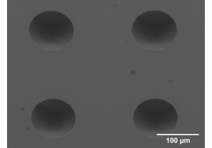 ARRAY OF BLIND MICRO HOLES IN FUSED SILICA